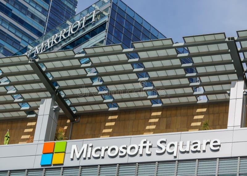 Logo de place de Microsoft à L a live photographie stock libre de droits