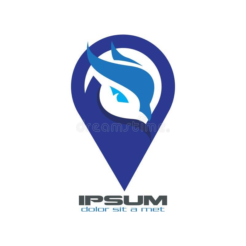 Logo de point d'oiseau de hibou illustration stock