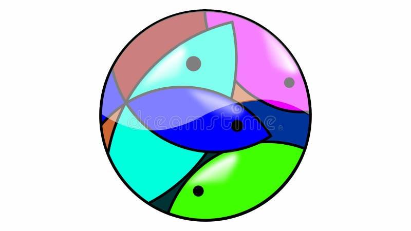 Logo de poissons de mosaïque illustration de vecteur