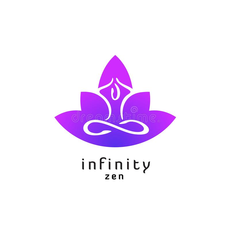 Logo de pose de zen de yoga avec la silhouette de fleur de lotus illustration de vecteur