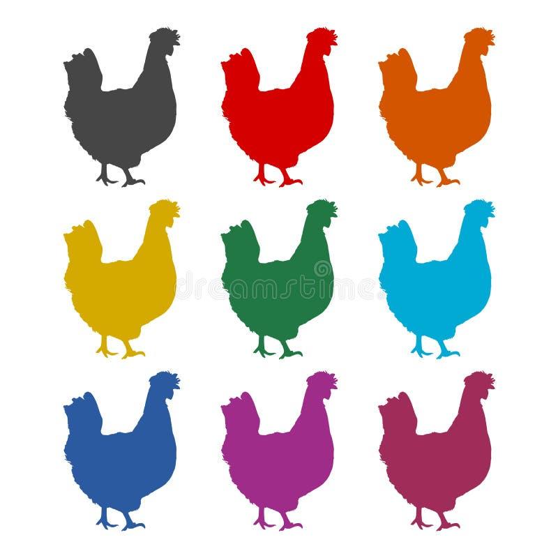 Logo de poule de poulet, icône de silhouette de poulet, ensemble de couleur illustration de vecteur
