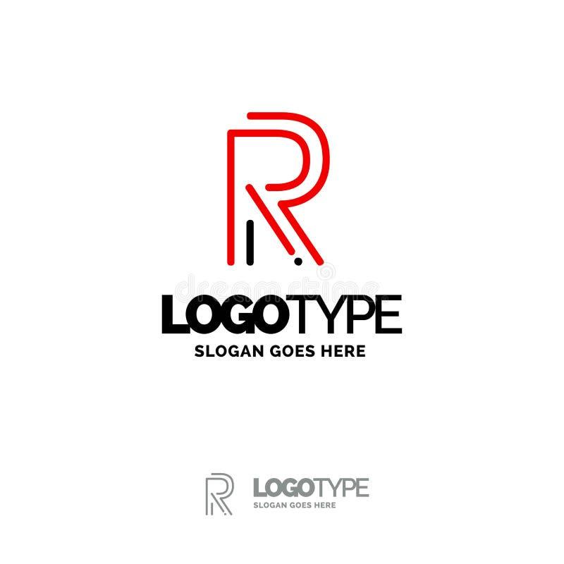 Logo de R Digital Logo Template Calibre noir et rouge de logo, technologie illustration de vecteur
