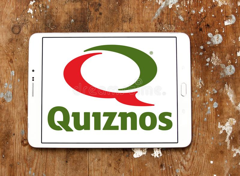 Logo de restaurant d'aliments de préparation rapide de Quiznos photographie stock