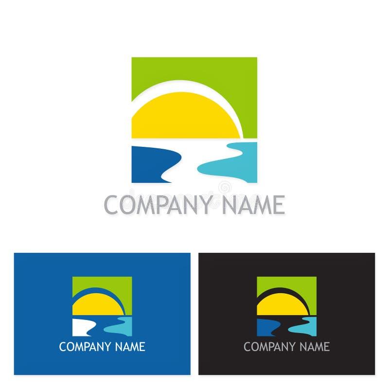 Logo de rivière de plage de Sun illustration de vecteur