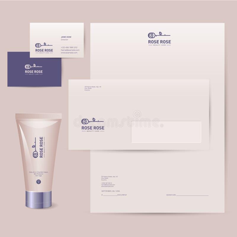 Logo de Rose Identité d'entreprise de marque de cosmétiques Les cartes de visite professionnelle de visite, l'en-tête de lettre,  illustration de vecteur