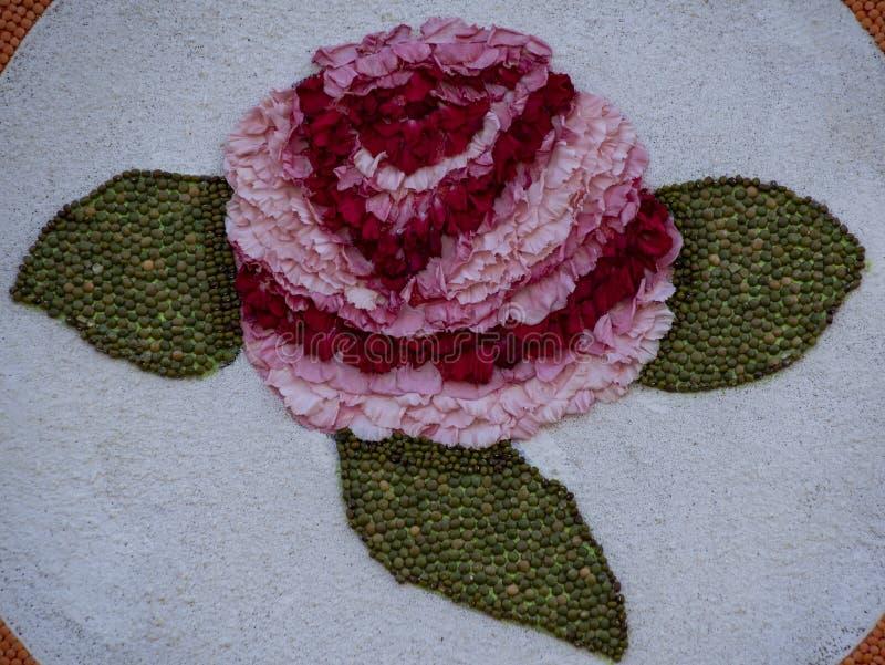 Logo de Rose Parade en pétalos de rosa de color rojo y rosa con guisantes verdes imagenes de archivo