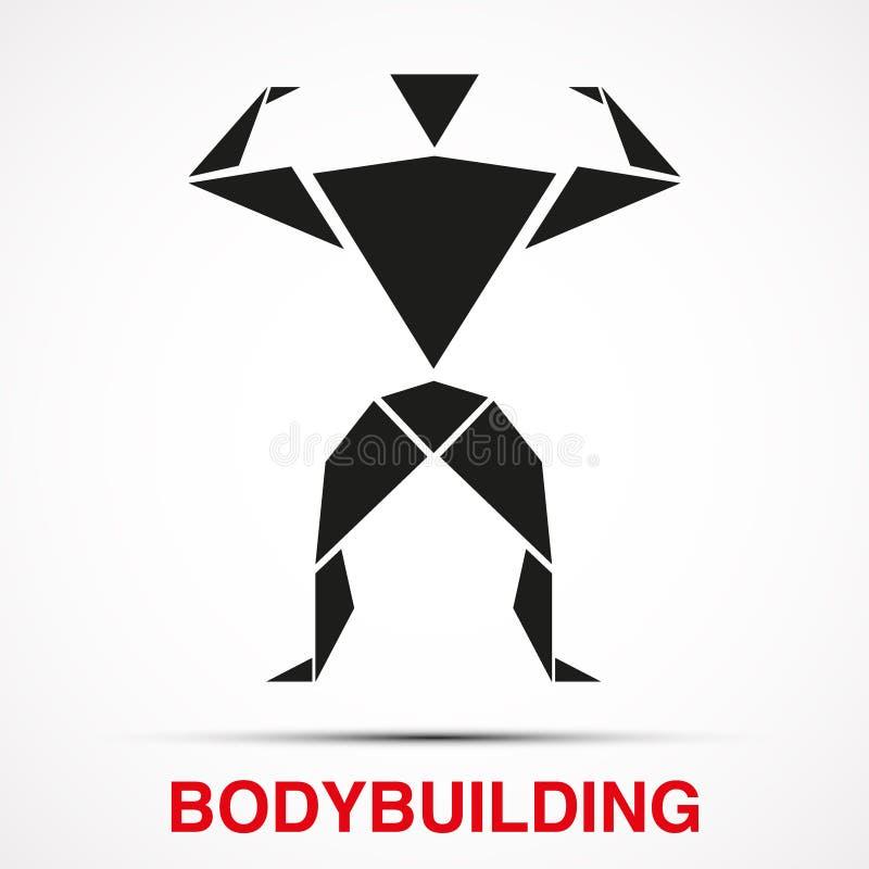 Logo de séance d'entraînement avec l'homme de triangle de bodybuilder Vecteur illustration stock