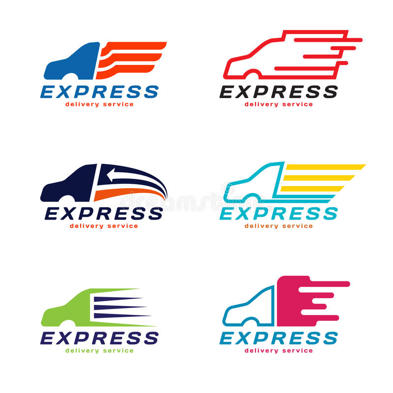 Logo de service de livraison express de voiture de camion Scénographie de vecteur illustration stock
