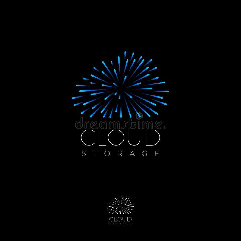 Logo de service de nuage Icône de stockage de l'information Internet, communication, icône de réseau illustration de vecteur