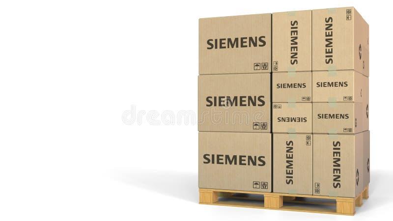 Logo de Siemens sur des cartons sur la palette Rendu 3D éditorial illustration de vecteur