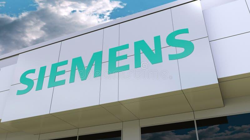 Logo de Siemens sur la façade moderne de bâtiment Rendu 3D éditorial illustration libre de droits
