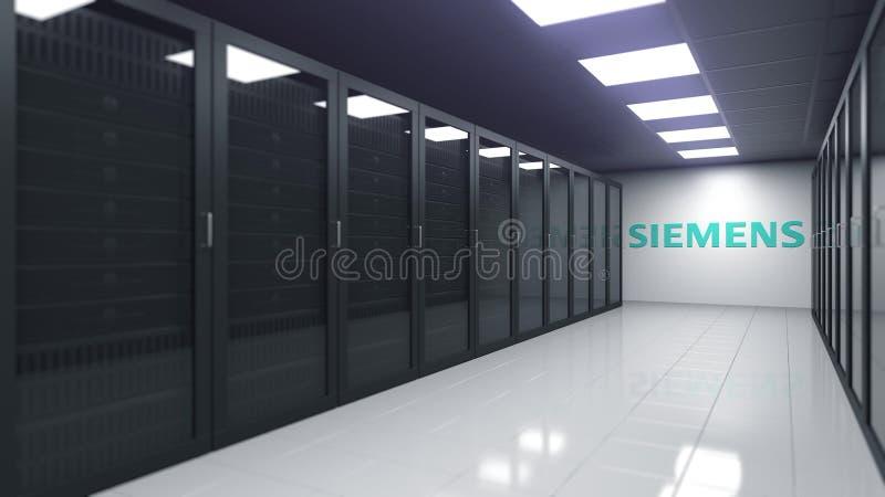 Logo de SIEMENS sur le mur d'une salle de serveur, rendu 3D éditorial illustration stock
