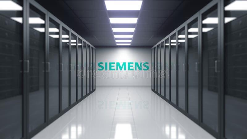 Logo de Siemens sur le mur de la salle de serveur Rendu 3D éditorial illustration de vecteur