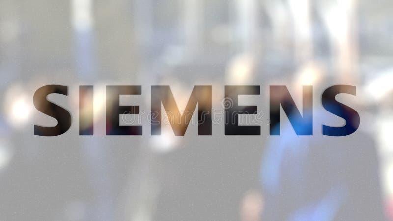 Logo de Siemens sur un verre contre la foule brouillée sur le steet Rendu 3D éditorial illustration stock