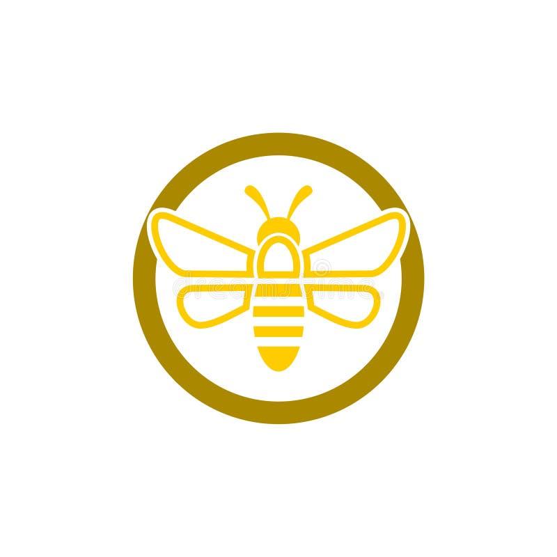 Logo de signe d'abeille, abeille ou symbole d'api illustration stock