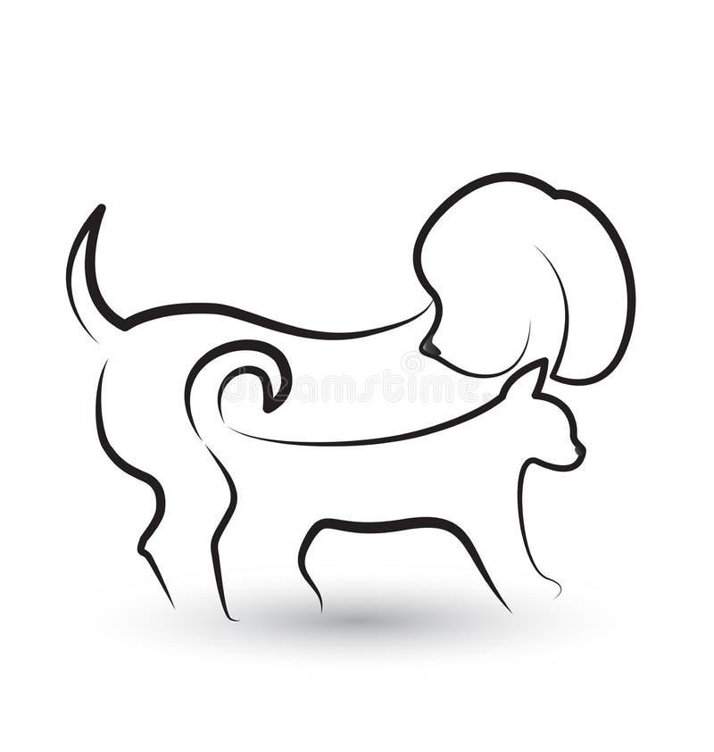 Logo de silhouettes de chien et de chat illustration de vecteur