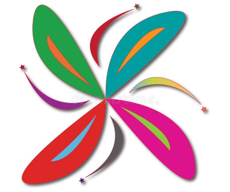 Logo de société et logo chanceux de fleur illustration de vecteur