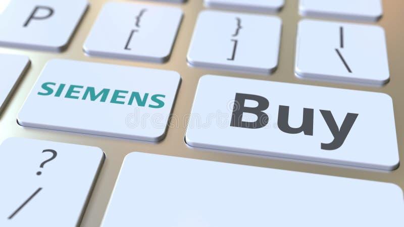Logo de société de SIEMENS et texte d'achat sur les clés du clavier d'ordinateur, rendu 3D conceptuel éditorial illustration libre de droits