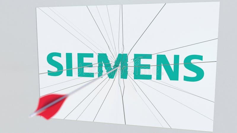 Logo de société de SIEMENS frappé par la flèche de tir à l'arc Rendu 3D éditorial conceptuel de crise d'affaires illustration stock