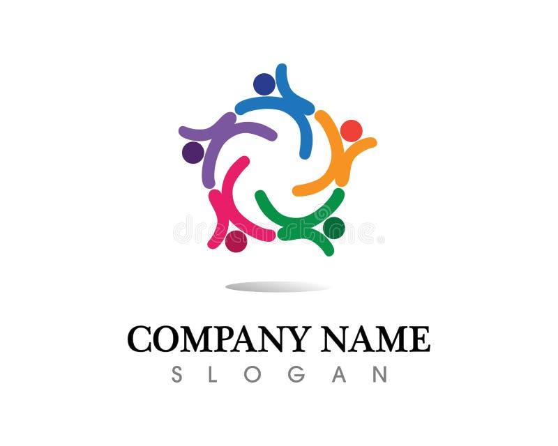 Logo de soin de personnes de la Communauté et calibre de symboles illustration stock