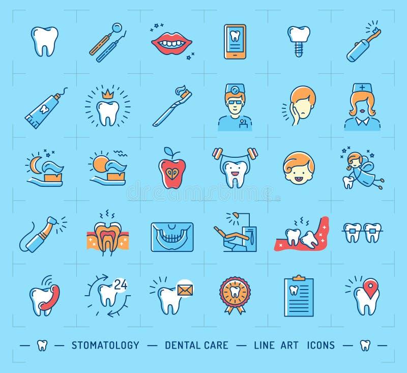 Logo de soins dentaires d'icône de stomatologie Ligne mince icônes d'art dentaire d'enfants illustration stock