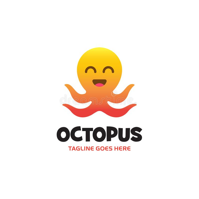 Logo de sourire de poulpe de gradient jaune-orange avec quatre tentacules Vecteur illustration stock