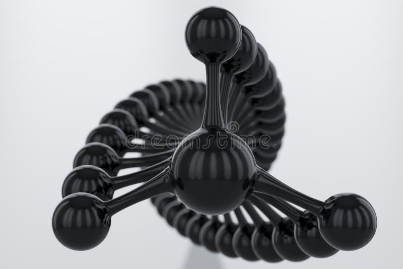 Logo de spirale d'hélice de molécule d'ADN de noir du wireframe 3d ou concept abstrait d'icône L'eau, les sciences médicales, gén illustration de vecteur