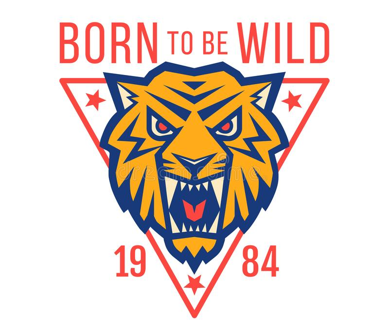 Logo de sport avec l'OD principal un tigre illustration libre de droits
