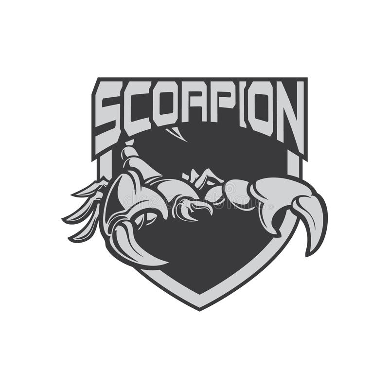 Logo de sport de l'icône e de scorpion d'illustration avec le bouclier illustration de vecteur