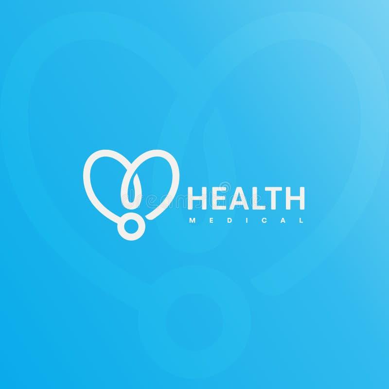 Logo de stéthoscope de docteur Soins de santé, symbole médical Silhouette linéaire abstraite de coeur Illustration simple de vect illustration libre de droits
