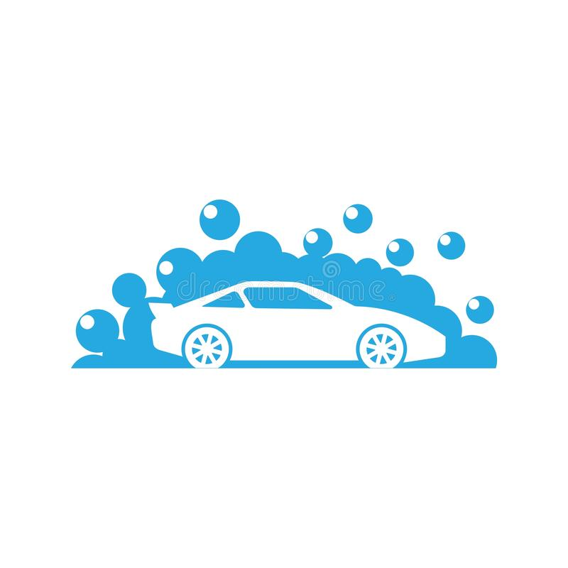 Logo de station de lavage, icône de nettoyage de voiture illustration stock