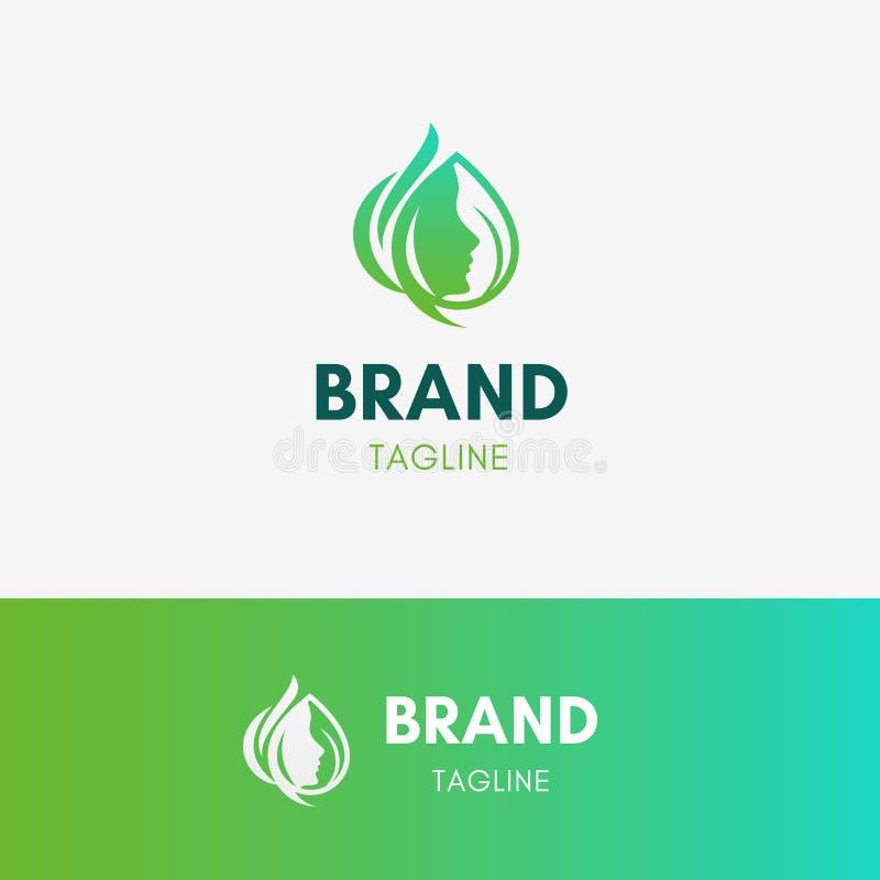 Logo de station thermale de femme de beauté illustration de vecteur