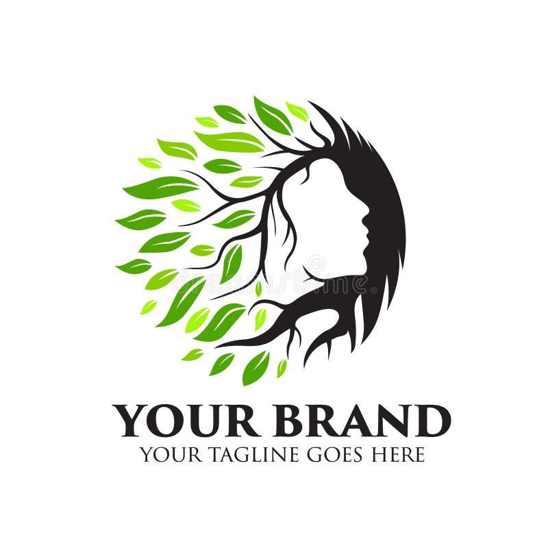 Logo de station thermale, de yoga et de beauté avec l'arbre et le vecteur de concept de feuilles illustration stock