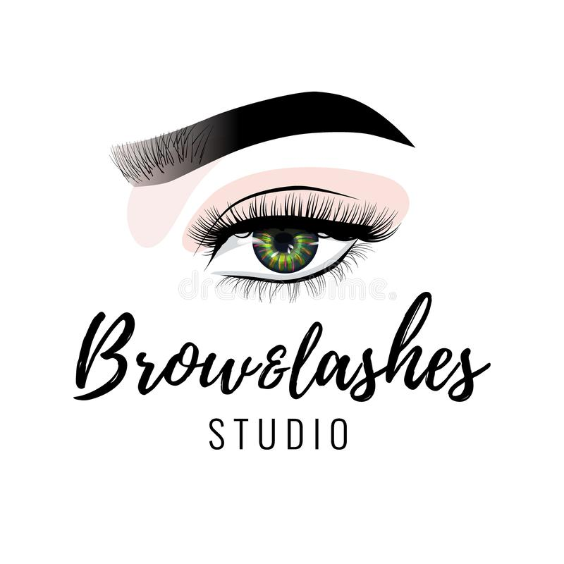 Logo de studio de sourcil et de cils, belle conception parfaite de maquillage d'oeil, longues mèches noires, vecteur illustration libre de droits