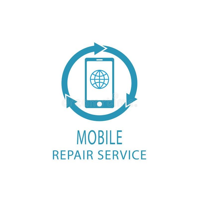 Logo de téléphone de réparation, mobile de service de difficulté et signe de comprimé illustration stock