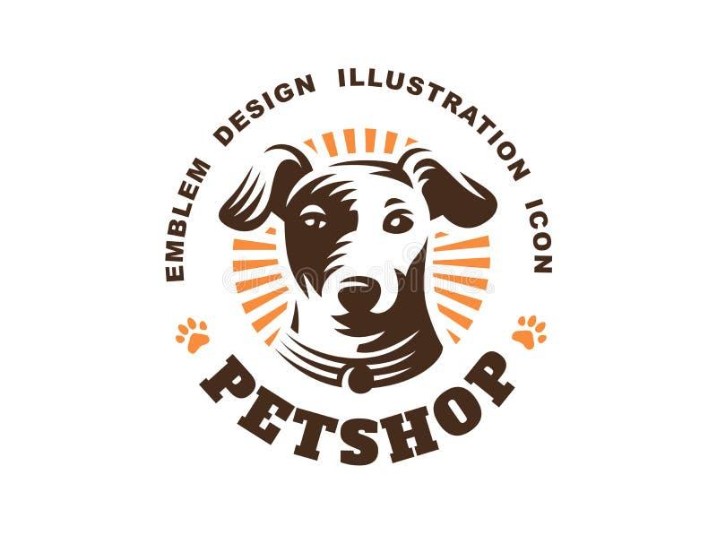Logo de tête de chien - dirigez l'illustration, emblème sur le fond blanc illustration de vecteur