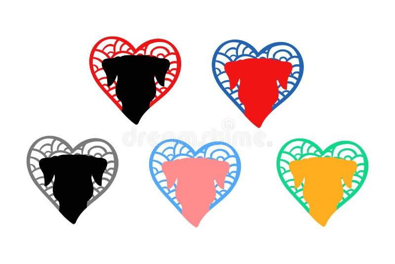 Logo de t?te de chien Visage de chien coeurs tirés par la main avec l'intérieur animal de silhouette illustration libre de droits
