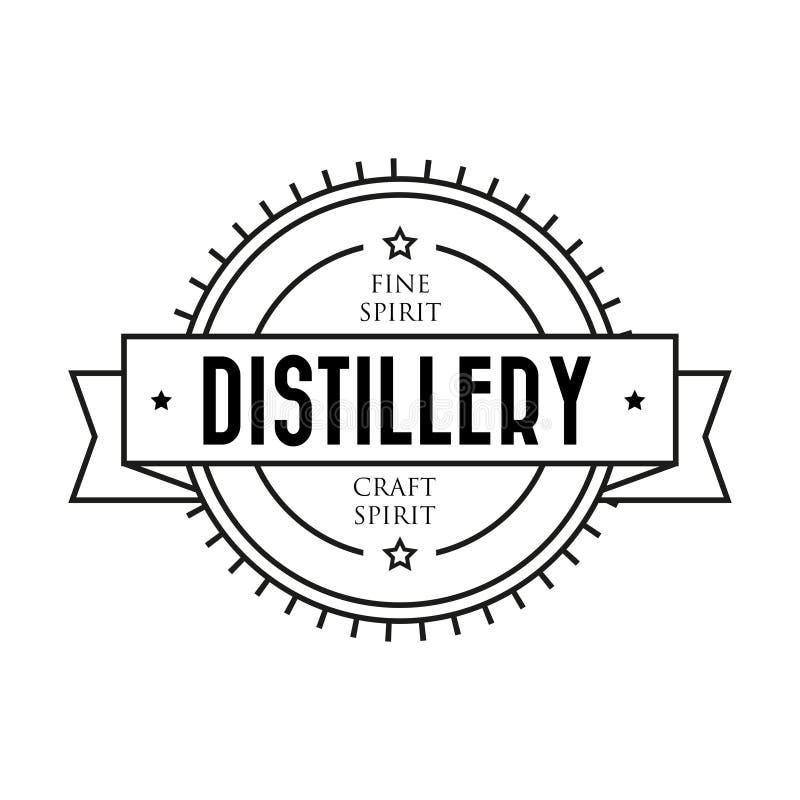 Logo de timbre de vintage de distillerie illustration de vecteur