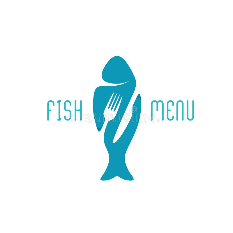 Logo de titre de menu de restaurant de nourriture pour poissons Silhouette d'un poisson illustration libre de droits