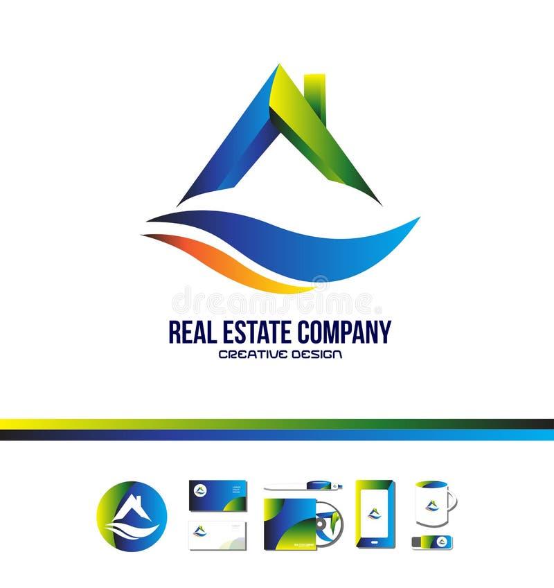 Logo de toit de maison d'immobiliers illustration stock