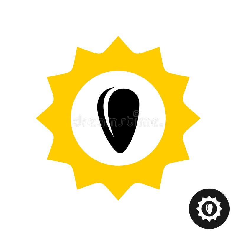 Logo de tournesol avec la graine noire à l'intérieur illustration stock