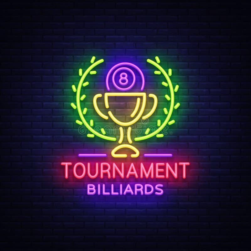 Logo de tournoi de billards dans le style au néon Calibre de conception d'enseigne au néon pour le club de billard, barre, banniè illustration libre de droits
