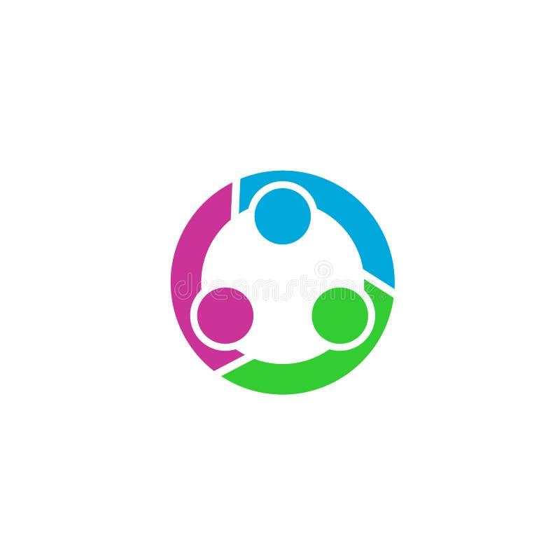 Logo de travail d'équipe de cercle, logo de relation d'affaires illustration libre de droits