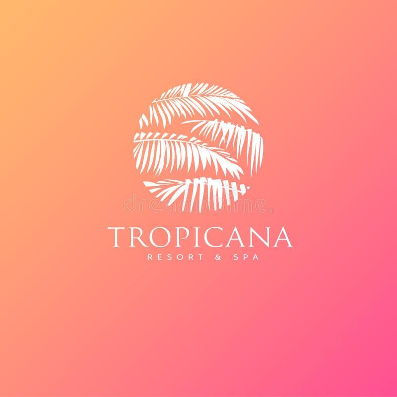 Logo de Tropicana Emblème de station de vacances et de station thermale Cosmétiques tropicaux beauté Palmettes en cercle illustration stock
