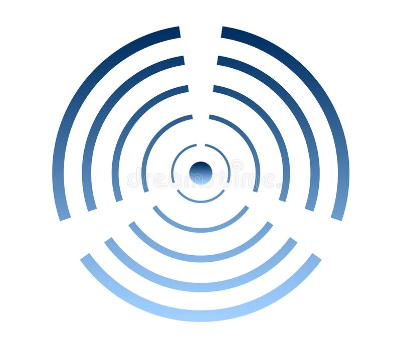 Logo de turbine de vent, symbole d'énergie éolienne, icône de climatisation illustration de vecteur