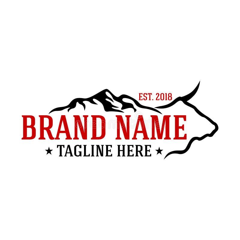 Logo de vache et de montagnes à Moder illustration stock