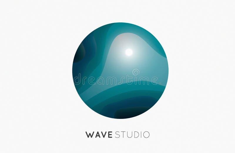 Logo de vague Graphisme d'affaires bleu compagnie images stock