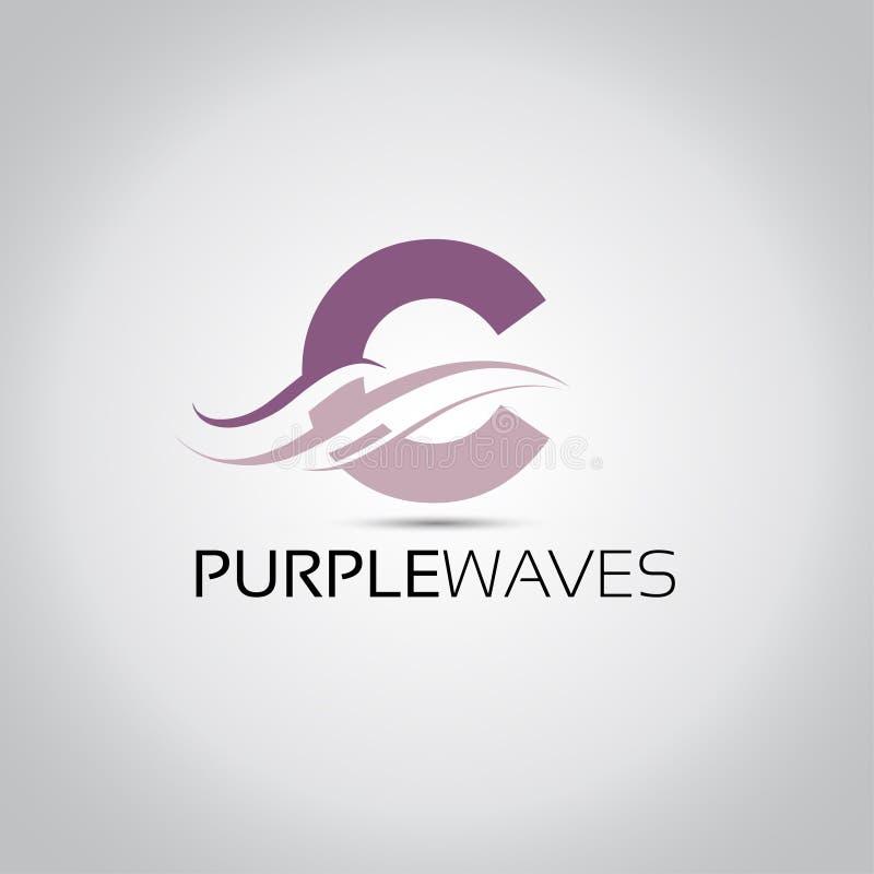 Logo de vagues de lettre de C illustration de vecteur
