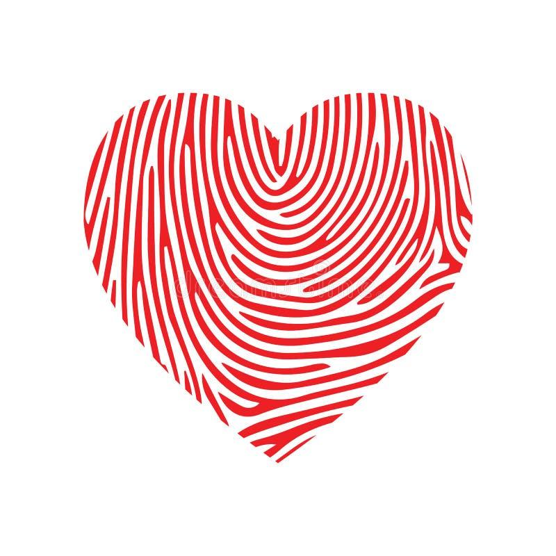 Logo de Valentine Fingerprint Love Corazón rojo y huella dactilar o laberinto Signo de belleza Ilustración de diseño vectorial cr libre illustration