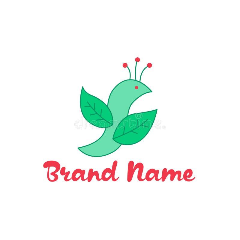 Logo de vecteur avec l'image d'un oiseau des pétales des usines avec une couronne sur sa tête Aux nuances vertes et rouges Un lar illustration stock